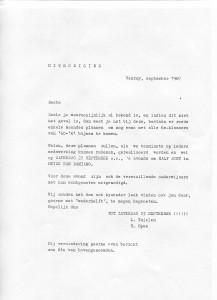 De uitnodiging van 1967 (nog gemaakt met typemachine!!)
